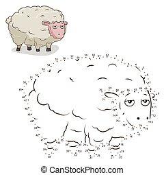 pricken, sheep, illustration, lek, vektor, koppla samman