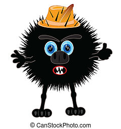 Illustration prickly monster on white background is insulated