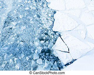 prickly ice on the river - beautiful heavy ice cracked on...