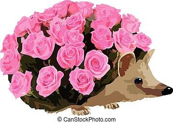 Prickly metaphor - metaphorical image of hedgehog with roses...