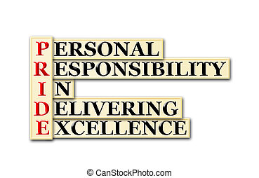 Conceptual PRIDE acronym - personal responsibility in delivering excellence.