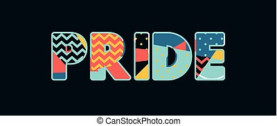 The word PRIDE concept written in colorful abstract typography. Vector EPS 10 available.