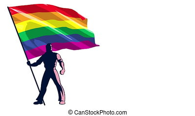 Pride Flag Bearer - Looping animation of man holding the...