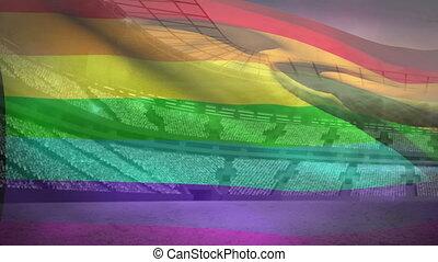 Pride flag in front of stadium