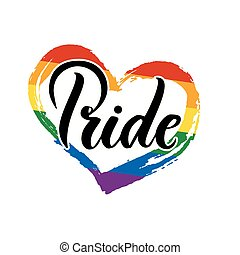 Pride Handwritten lettering with the flag of the LGBT community. EPS 10