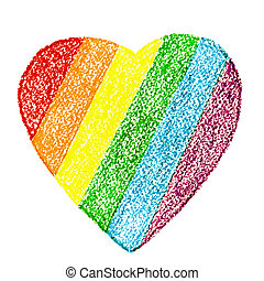 Pride LGBT heart wax crayon drawing in rainbow colors isolated on white background. Concept of tolerance and equality. Closeup.