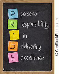 PRIDE (personal responsibility in delivering excellence) concept on blackboard, color sticky notes and white chalk handwriting