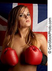 pride - boxer girl over british flag