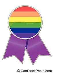 Pride Support Ribbon isolated over white