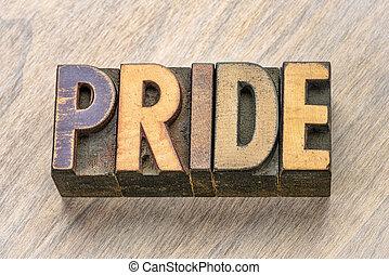 pride word in wood type