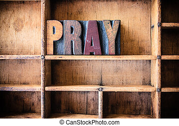 prier, bois, thème, concept, letterpress