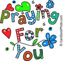 prier, dessin animé, vous, texte
