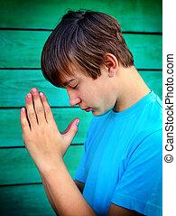 prier, extérieur, adolescent