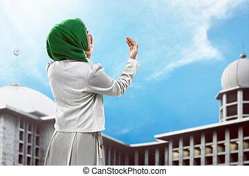 prier, femme, dos, musulman, vue