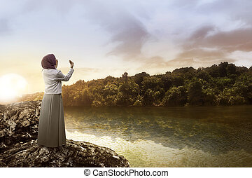 prier, femme, Lac, musulman