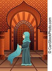 prier, femme, mosquée, musulman