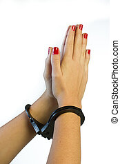 prier, femme, poignets, mains