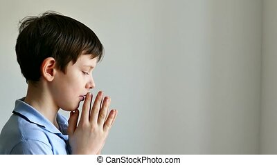 prier, garçon adolescent, croyance, dieu