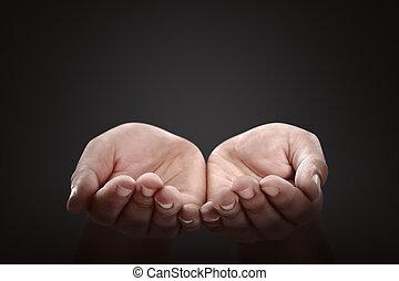 prier, gens, geste, mains