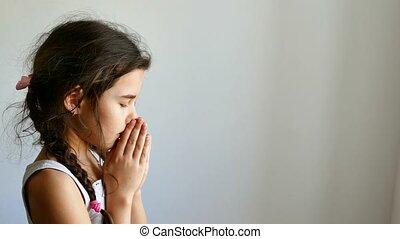 prier, girl, église, adolescent, croyance, dieu