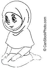prier, girl, séance, musulman, habillement, arabe, traditionnel, position, contour