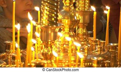 prier, god., repos, bougie, soul., chrétien, église