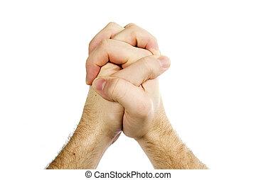 prier, isolé, mains
