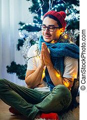 prier, jeune, noël heureux, geste, homme