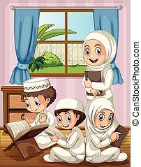prier, maison, musulman, famille