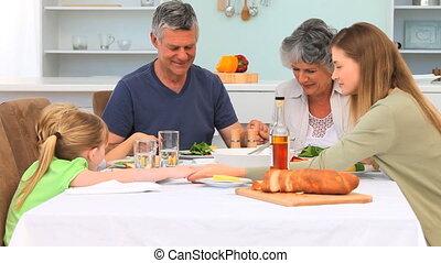 prier, manger, famille, avant