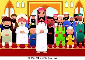 prier, mosquée, musulmans