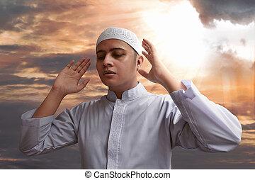 prier, musulman, homme