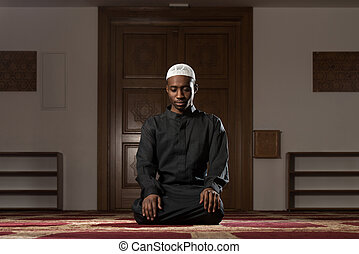 prier, musulman, mosquée, homme, africaine