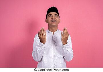 prier, musulman, ouvert, bras, geste, homme