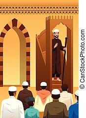 prier, musulmans, mosquée, illustration