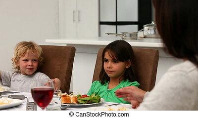 prier, pendant, mignon, famille, déjeuner