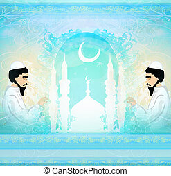 prier, religieux, résumé, carte, musulman, -, homme