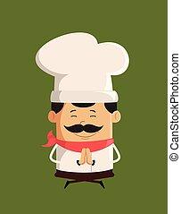 prier, séance, chef cuistot, -, mignon, professionnel