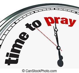 prier, temps, -, horloge