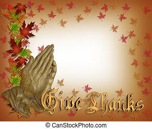 prier, thanksgiving, carte, mains