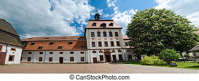Priessnitz, city castle under blue sky, Germany
