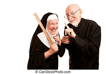 Friendly priest admonishes angry nun for using ruler as a corporal punishment tool
