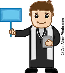 Priest Asking for Donation Vector - Cartoon Christian Priest...
