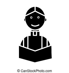 priest at wedding church religion christian icon, vector...