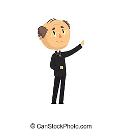 Priest character blessing people, catholic preacher, holy father cartoon vector illustration