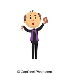 Priest character standing with bible book and rosary, catholic preacher, holy father in robe cartoon vector illustration