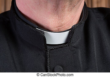 Priest clerical collar - Closeup of the neck of a priest ...