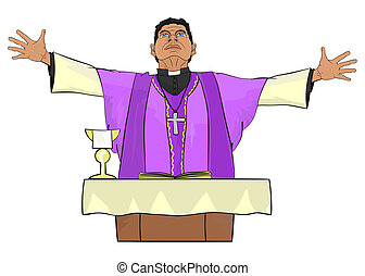 Priest - The Catholic priest celebrating Mass at the altar.