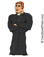 Priest on a white background