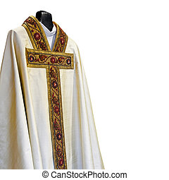 Priest dress - Mantle for Catholic priest with golden cross...